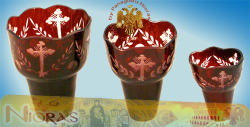 Romanian Orthodox Hand Carved Glass Cups Red