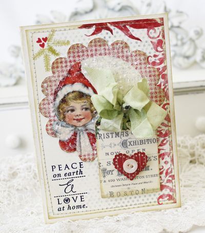 Wonderfully cute vintage inspired handmade Christmas card. #cards #scrapbooking #Christmas