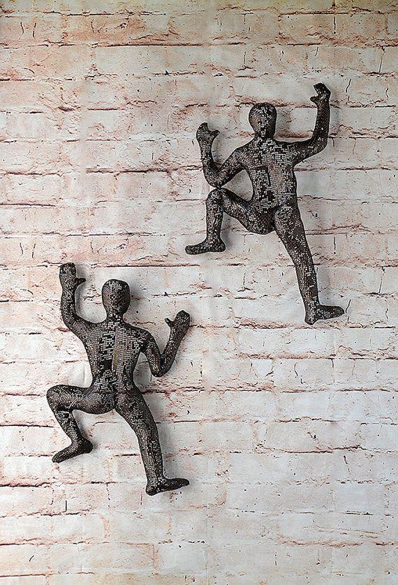 Metal wall art Climbing man sculpture Housewarming gift by nuntchi
