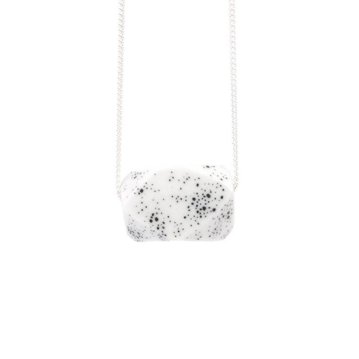 Galaxy black bead necklace, porcelain $130