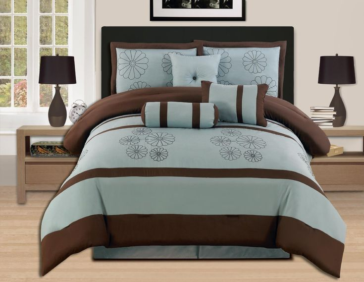 7 Pieces Luxury Embroidery Comforter Set Bed-in-a-bag (Oversize) Bedding (Aqua Blue/Brwon, Queen)