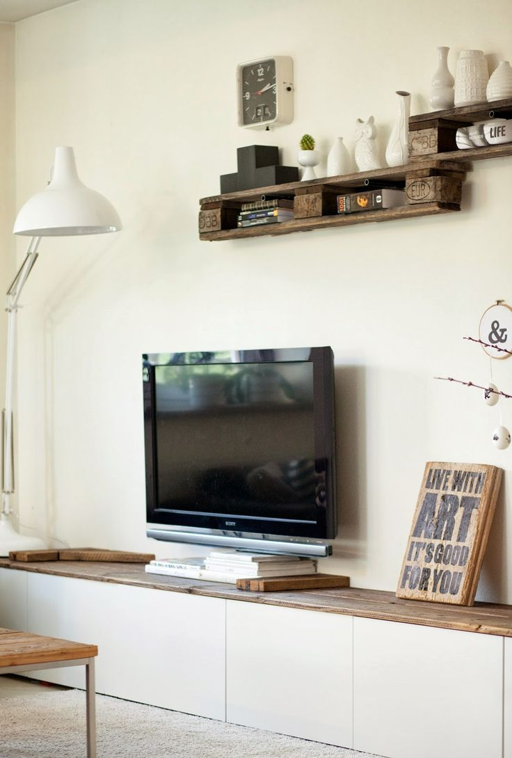 Besta ikea mit holzplatte for the home pinterest - Ikea tv wand ...
