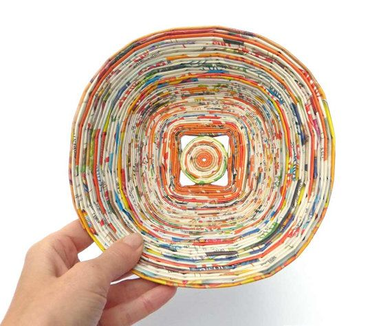 how to make coiled newspaper bowl