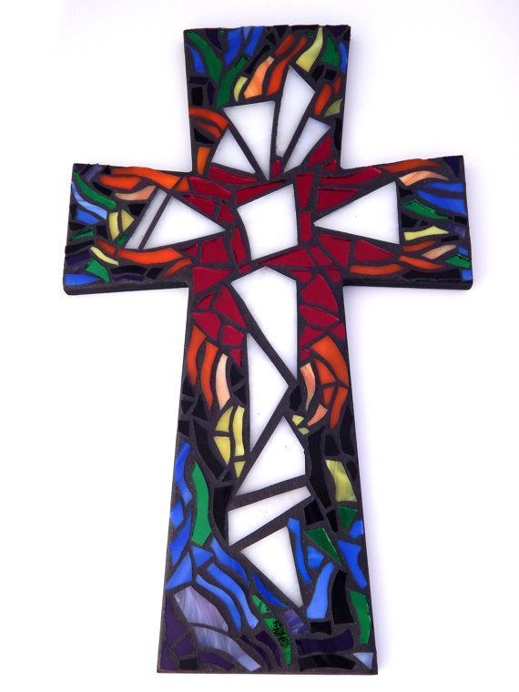 "Mosaic Wall Cross, Large 15"" x 9.25"", Rainbow, Multicolored Handmade Stained Glass Mosaic Design by GreenBananaMosaicCo, $60.00"