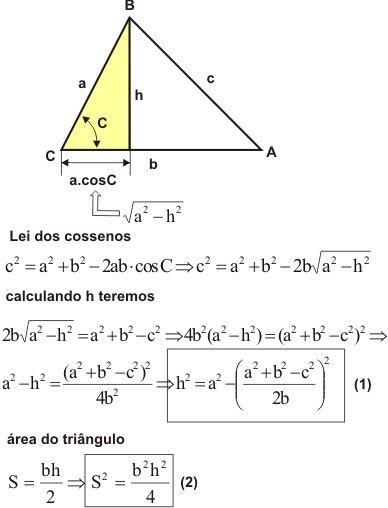 fórmulas de triângulos escaleno | valor da área S do triângulo utilizando a altura h calculada a ...