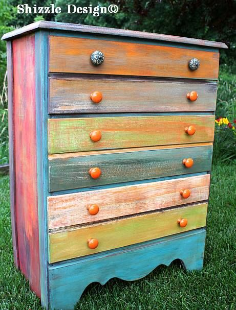 Colorful Painted Dresser ~ So boho chic! Can have so much fun with different drawer pulls.