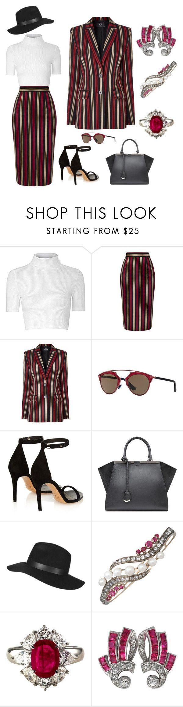 """Vintage Gangsta"" by karen-galves on Polyvore featuring Glamorous, MICHEL KLEIN, Christian Dior, Isabel Marant, Fendi, Topshop and vintage"