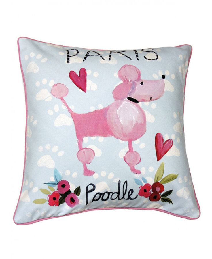 This pretty Paris With Love Reversible Cushion features a pink poodle on one side and a floral design with the Eiffel Tower on the other. Free UK delivery available