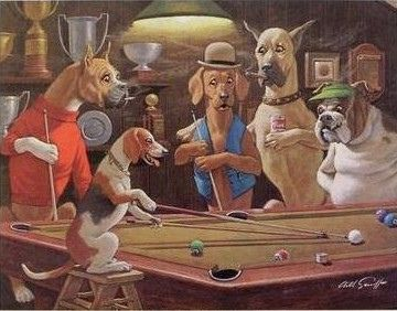 Dogs Pool Hall Cropped Dog And Cat Postcards Floor Art Framed Canvas Prints Art