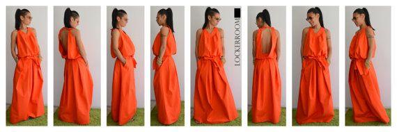 Maxi dress / Orange Long Dress / Orange by ClothesByLockerRoom