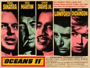 Oceans 11 1960 - original vintage movie poster for the classic American heist film Ocean's 11 directed by Lewis Milestone and starring five of the 'Rat Pack': Peter Lawford, Frank Sinatra, Dean Martin, Sammy Davis Jr. and Joey Bishop with Angie Dickinson, Richard Conte and Cesare Romero listed on AntikBar.co.uk