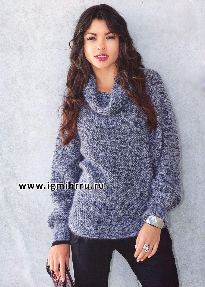 Просто, тепло, комфортно! Цельновязаный пуловер цвета серый металлик. Спицы