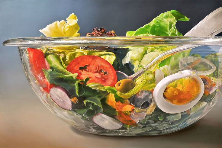 """""""Saladbowl"""" painting (yes, painting!) by Tjalf Sparnaay.  Looks so good, I could eat it!"""