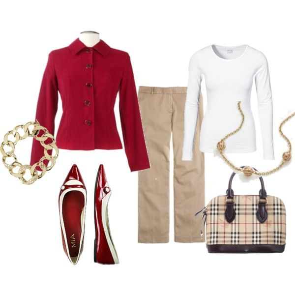 Red, White & Khaki, created by dadivaTarget Style, Warm Weather, Khakis Fashion, Colors Combinations, Weather Work, Color Combinations, Work Outfit