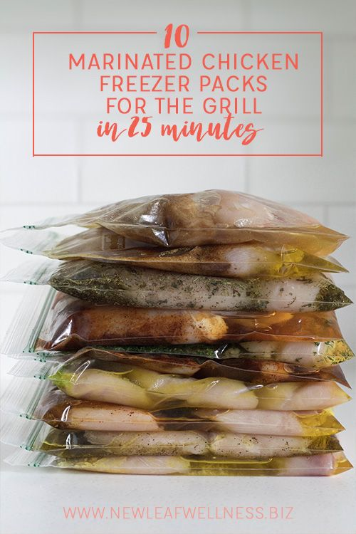 Check out this list of 10 Marinated Chicken Freezer Packs for the Grill you can make in 25 minutes! FREE download includes 10 printable recipes and a printable shopping lis!