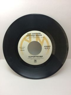 """Vintage Supertramp and one of the best songs EVER written...   Label: A&M Records - 2128-S. Format: Vinyl, 7"""", 45 RPM, Single. 12617-S/12618-S. Tracklist: Side A: The Logical Song. Side B: Just Another Nervous Wreck.  Condition: Pre-owned and in excellent condition. I have played it and there are no skips. I do not have the original sleeve. Ships boxed with adequate padding, packed with care."""