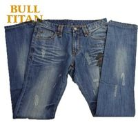 fashion summer style jeans ripped print breathable windproof denim light washed Anti-Shrink raw regular jeans for men BULL TITAN
