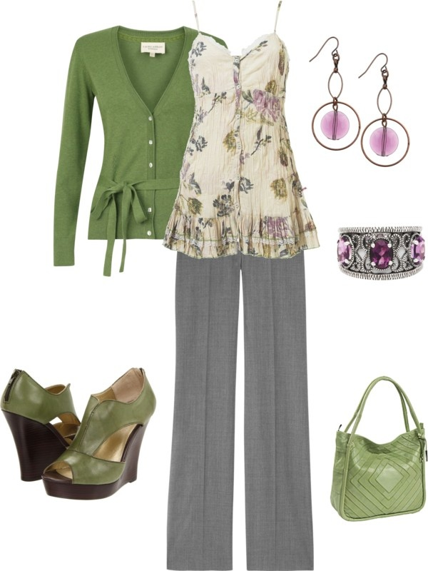 """green purple"" by yiannab on Polyvore"