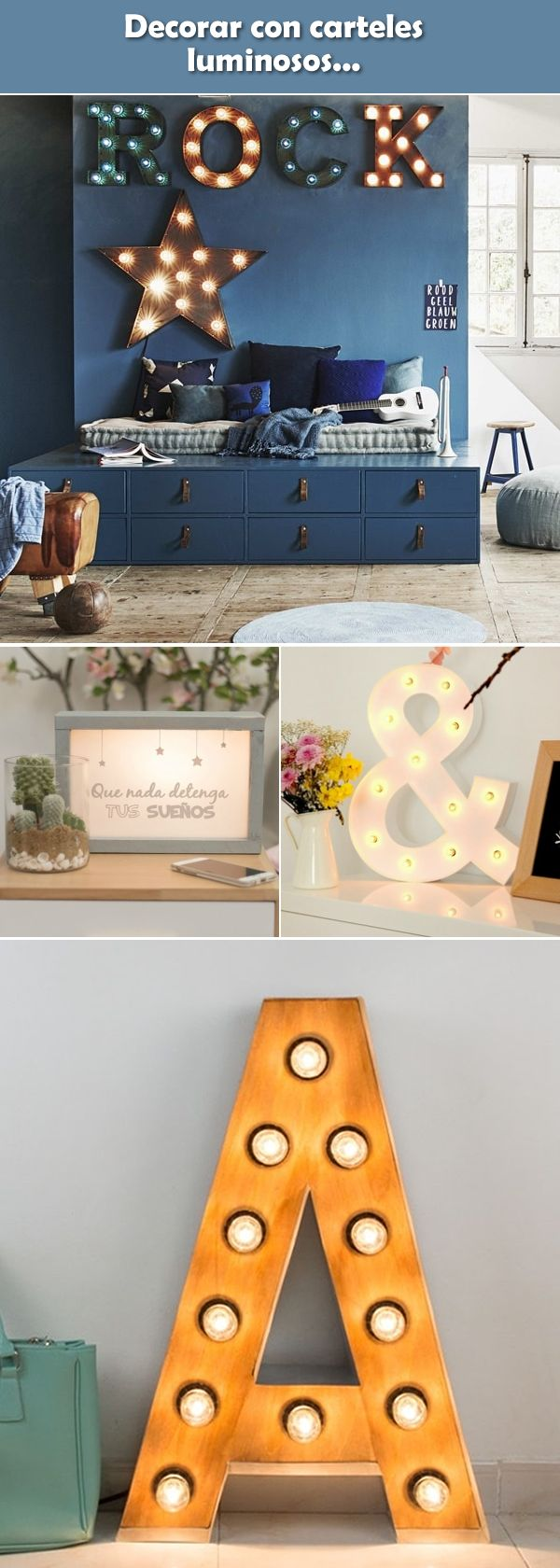 Decoración con carteles luminosos. Ideas para decorar con letreros luminosos.