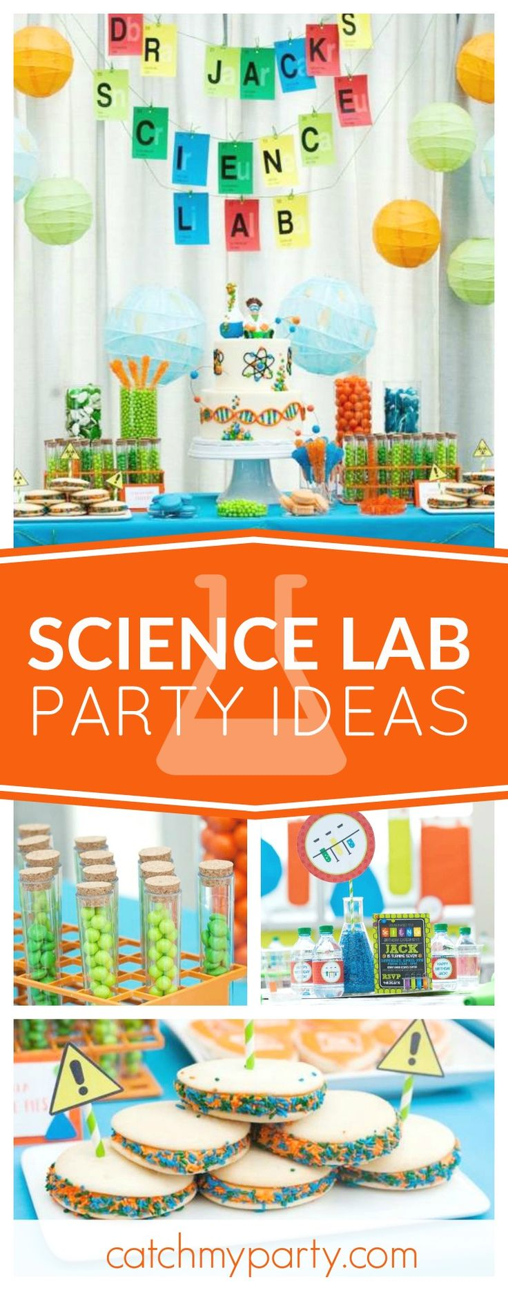 Step into the lab with this awesome Modern Scientist Birthday Party! The decorations are fantastic!! See more party ideas and share yours at CatchMyParty.com