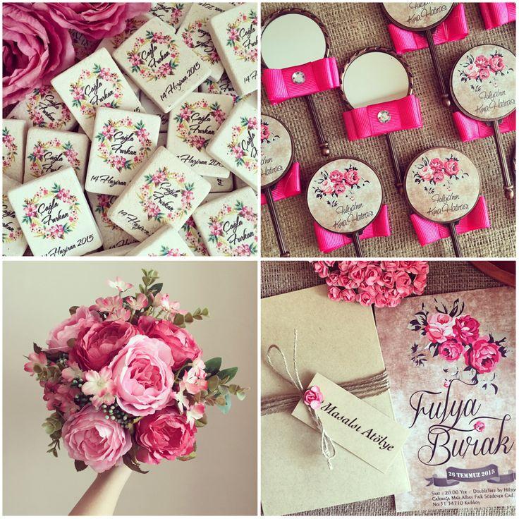 Pembe ve gül düğün teması / pink and rose wedding theme www.masalsiatolye.com #masalsiatolye #dugunteması #weddingtheme