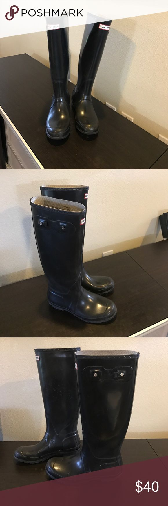 Authentic Hunter Boots black rubber rain boots 8 Authentic Hunter Boots tall black Wellington rubber rain boots 8 Euro 39 light natural blooming & light scuffs missing side straps light wear on insoles & bottom heels. sold as is. Final listed price please no offers Hunter Shoes Winter & Rain Boots