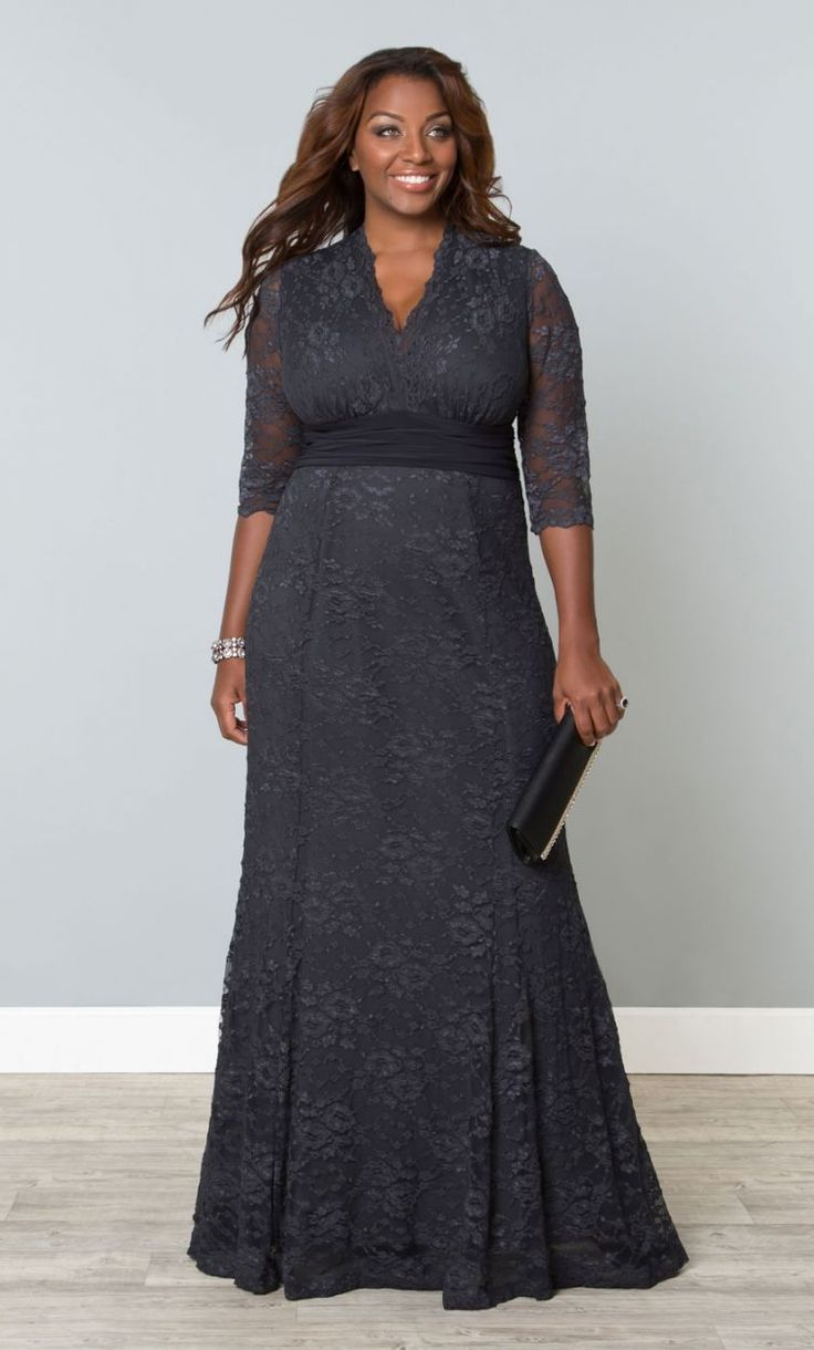 Screen Siren Lace Gown,  Twilight Grey (Womens Plus Size) From The Plus Size Fashion Community On www.VintageAndCurvy.com