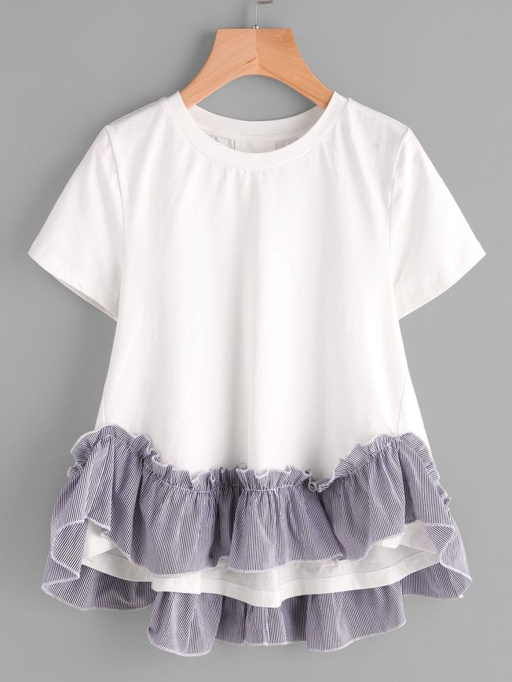 T-Shirts by BORNTOWEAR. Striped Ruffle Trim Hi Lo A Line T-shirt