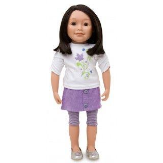 Maplelea Friend with shoulder length dark brown hair, medium-light skin, brown almond-shaped eyes