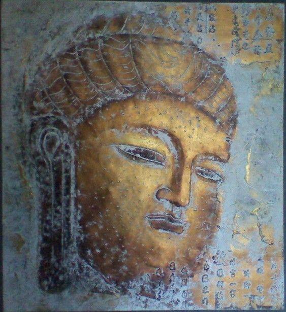Boeddha schilderij op canvas   Rofra Home