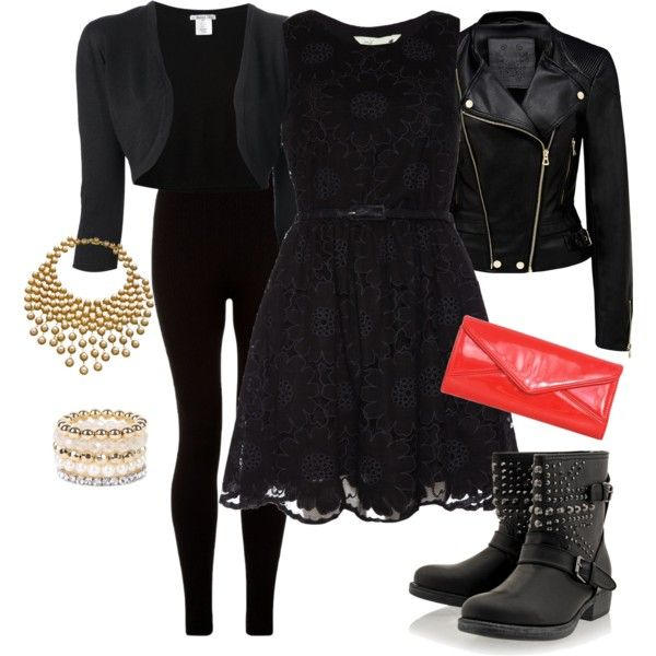 Black lace dress worn with biker boots and a red clutch