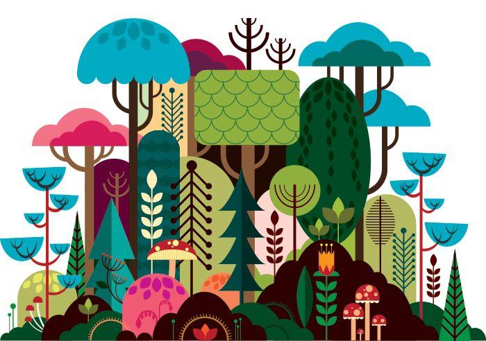 Geometrical illustrationsIllustration, environment, background, backdrop, trees, forest