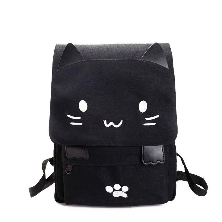 Lovely Cat Printing Backpacks Women School Travel Cartoon Embroidery Canvas Shoulder Bags Casual Girls Rucksacks Mochilas 130273