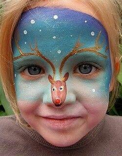 Cute Christmas face paint idea.