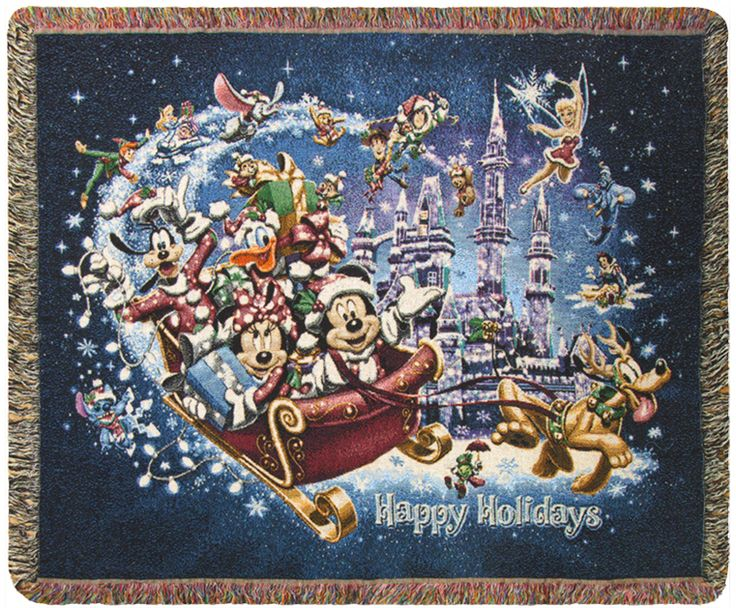 Seasonal Reward!  Celebrate the holidays with the help of Mickey and the gang with this decorative woven throw featuring all of your favorite characters in an enchanted sleigh.