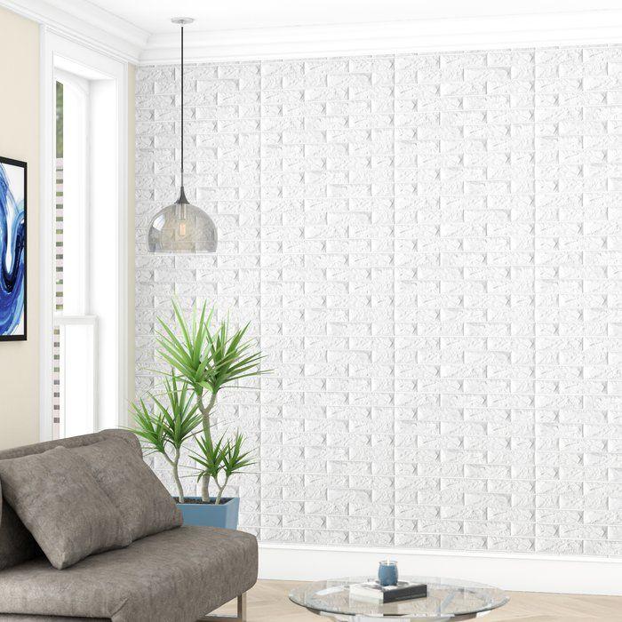 Liljenquist 31 1 X 31 1 Peel And Stick Vinyl Wall Paneling In White Vinyl Wall Panels Brick Wall Paneling Wall Paneling