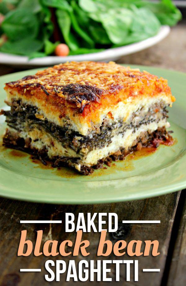 Baked Black Bean Spaghetti Recipe!  Amazing!! #NewTraDish #ad