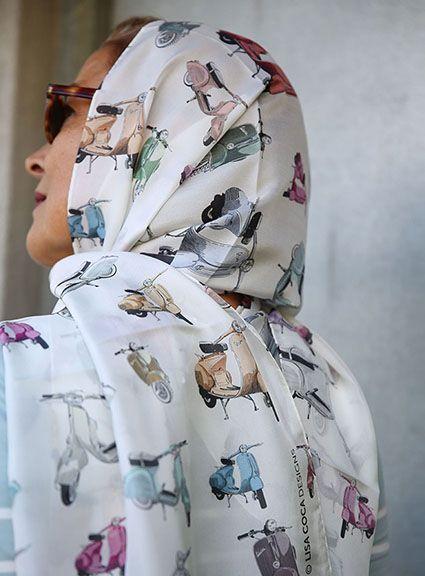 White silk foulard from Lisa Coca Designs. www.lisacoca.com. designs@lisacoca.com