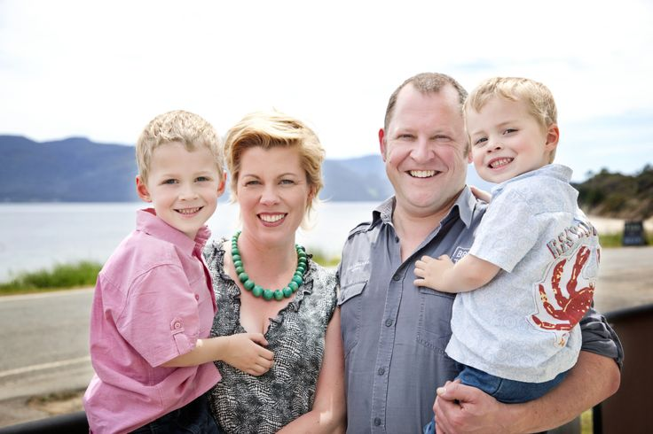 David, Rachel, Max and Rufus. Family owners and operators of Hotel Bruny, Bruny Island.