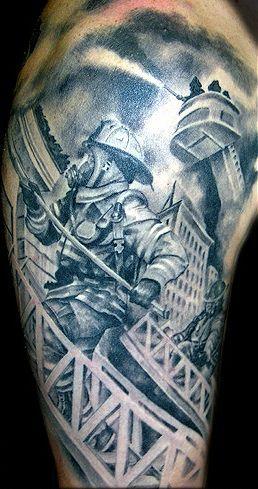 Firefighter On Ladder Tattoo On Half Sleeve