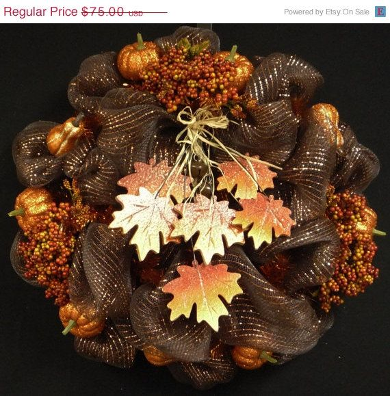 WREATH SALE  Fall Mesh Wreath Poly Mesh Wreaths by wreathsbyrobin