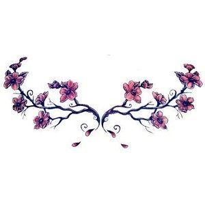 Japanese Cherry Blossom Tattoo Purple Flowers Branch