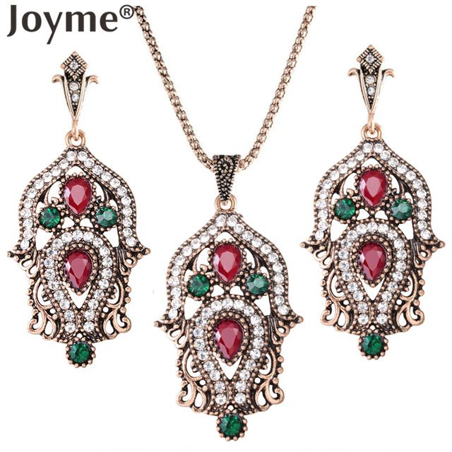 joyme brand Luxury Imitation Vintage Jewelry Sets For Women Bridal Wedding Indian Ethnic Turkish Engagement Wedding Accessories