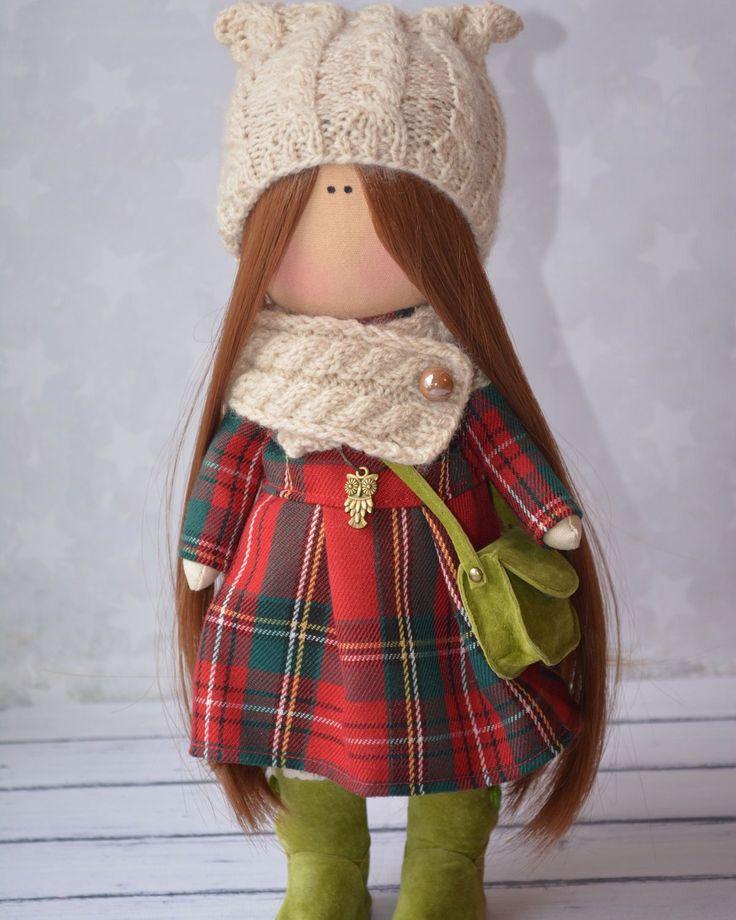 Купить Интерьерная текстильная кукла ручной работы - тёмно-синий, интерьерная кукла, интерьерная игрушка