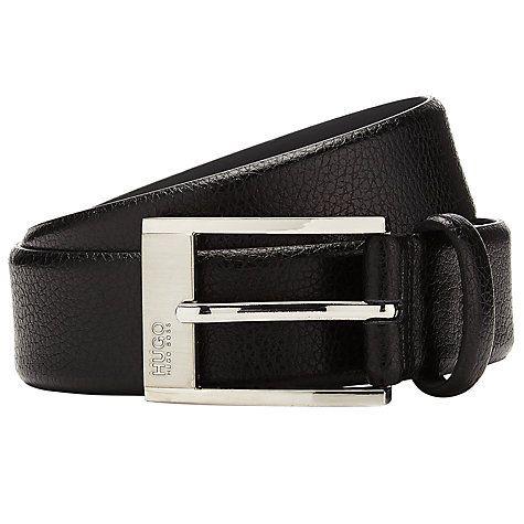 Buy BOSS Ellot Leather Belt, Black Online at johnlewis.com