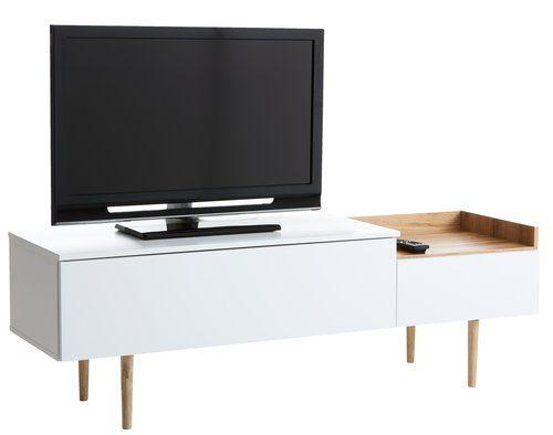 TV-stalak AARUP 2 ladice bijela/hrast