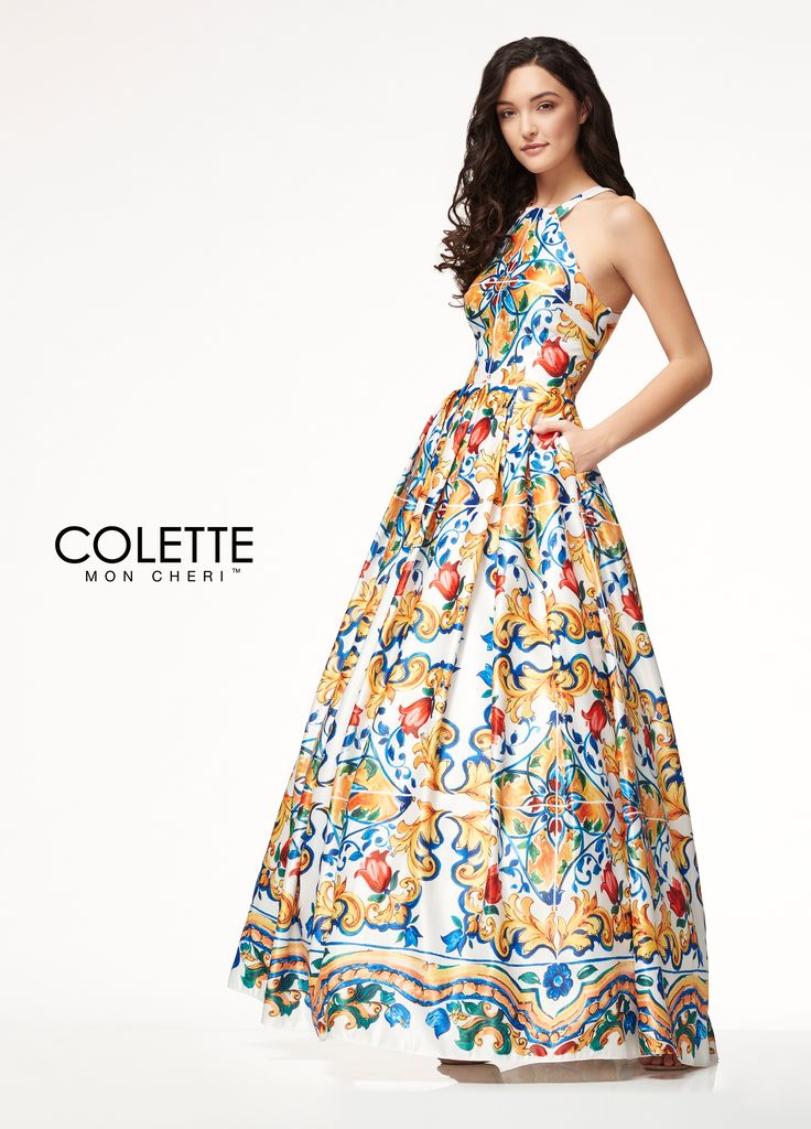 Colette for Mon Cheri CL18273 - Be a bohemian bombshell in this trendy style! This unique a-line dress is made of a luxurious printed satin. It features a glamorous high neckline and classic full skirt with pockets!