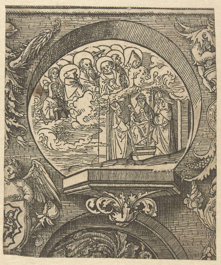 Jacob Cornelisz van Oostsanen | De Katholieke Kerk en de Gemeenschap van Heiligen, Jacob Cornelisz van Oostsanen, Doen Pietersz., 1520 | Gedrukt van twee blokken. Ornamentele omlijsting rond voorstelling met heiligen in wolk en paus op troon met naast hem twee bisschoppen en een kardinaal.