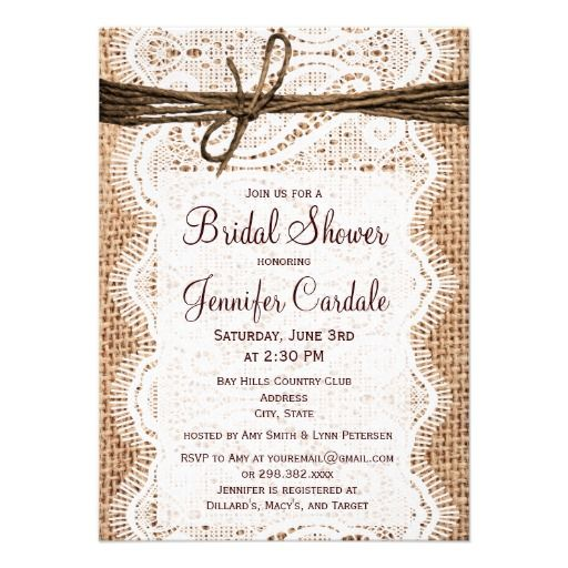 Rustic Country Burlap BRIDAL SHOWER Invitations with a burlap print and lace print background. http://www.rusticcountryweddinginvitations.com/burlap-and-lace.html  #bridalshower #bridal #wedding #country