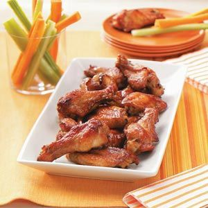 Party Chicken Wings Recipe -These moist wings— marinated overnight in a soy sauce, mustard and brown sugar mixture— are excellent party appetizers. At our house, they're a must for holiday gatherings.